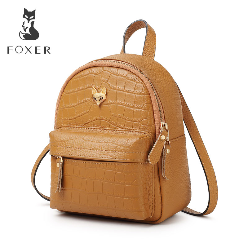 FOXER Cowhide Commuter Women Soft Travel Bag High Quality Female Tote Girl Mini Backpack Genuiune Leather Lady Vintage Backpack