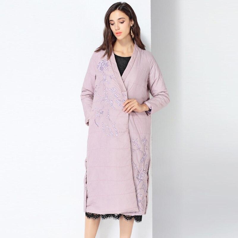 YNZZU 2019 новая зимняя коллекция брендовый толстый женский пуховик с вышивкой в китайском стиле, винтажные женские парки, пальто A1083 - 2