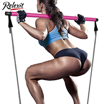Yoga Pilates Stick with Resistance Bands Muscle Stretch Pull Rope Home Gym Fitness Bar Sports Workout Exercise Elastic Bands 1