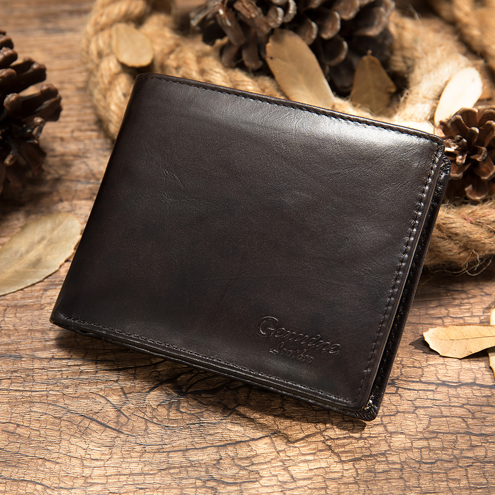 Fashion Mens Wallet Leather Genuine Small Leather Wallet Men With Coin Pocket Wallets For Mens Short Man Wallets Man Purse  8866