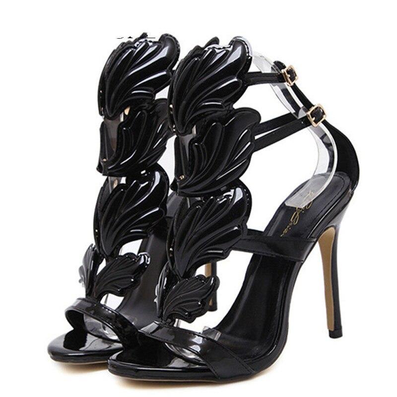 YECHNE Black Open Teen Hooks Sandals Women Summer Fetish High heels Pole Dance Shoes Sexy Peep To Gold Gladiator Pumps