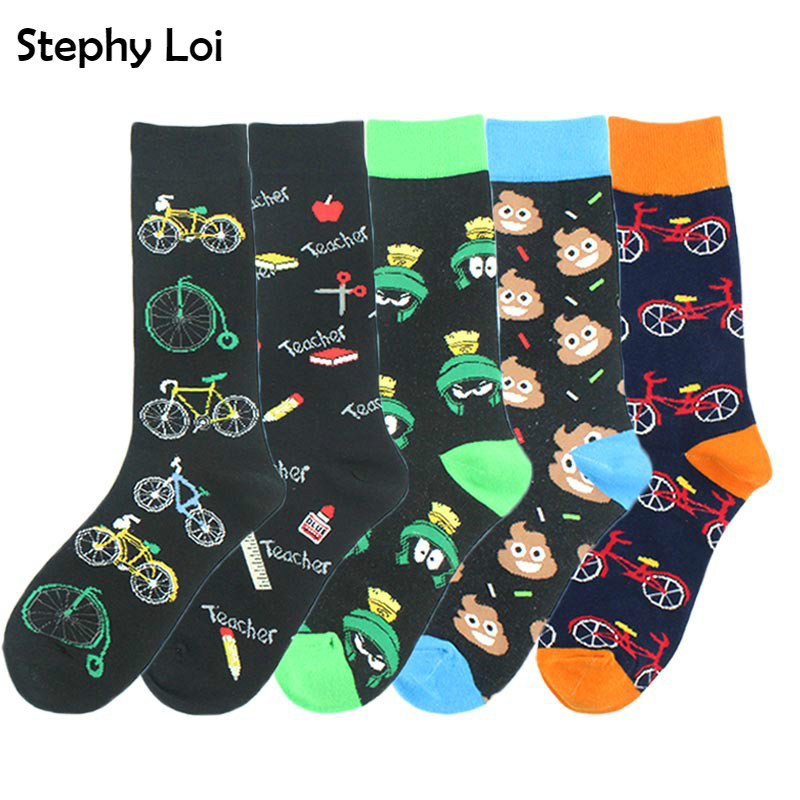 Funky Crazy Men Cotton Socks Bike Poop Pattern Happy Sock Casual Harajuku Dress Business Designer Brand Novelty Gift Hip Hop