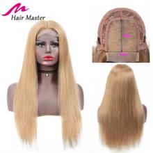 Волосы Мастер 4x4 закрытие парик медовый блонд цвет 27 Remy бразильский прямой парик блонд короткие и длинные парики 8-28 дюймов человеческие волосы парик