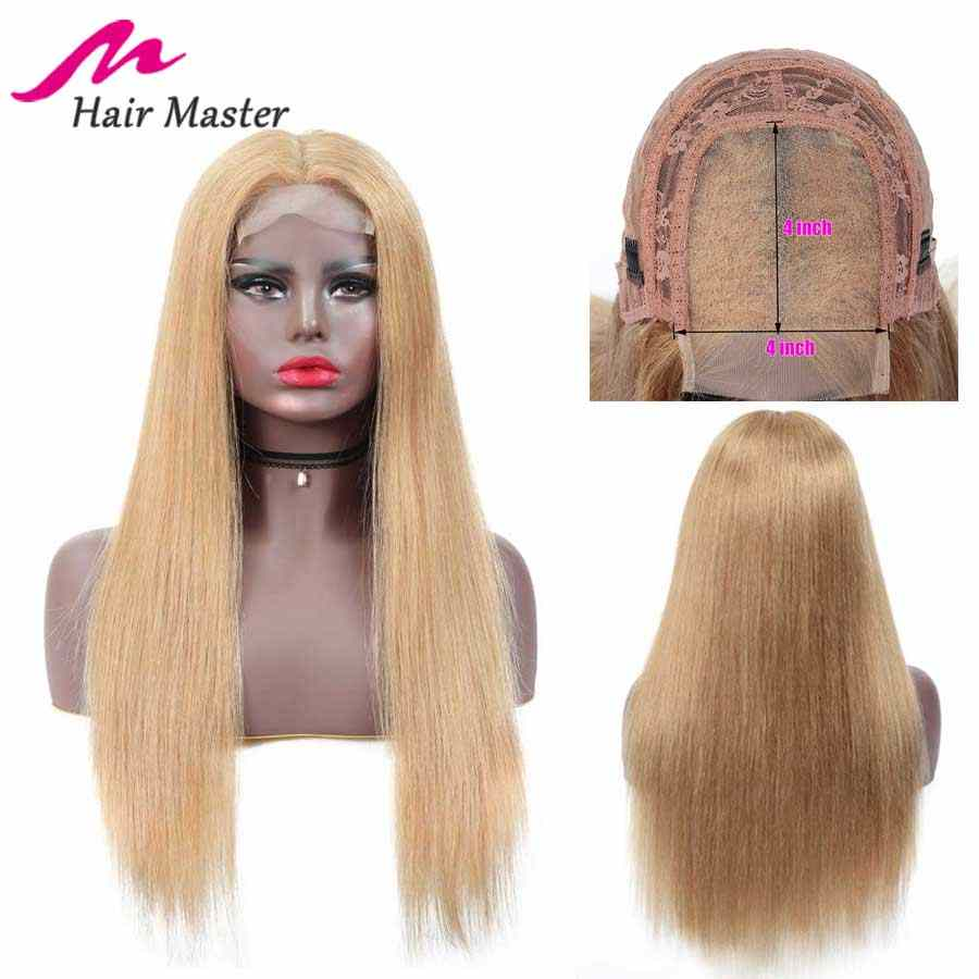 Hair Master 4x4 Closure Wig Honey Blonde Color 27 Remy Brazilian Straight Wig Blonde Short & Long Wigs 8-28 Inch Human Hair Wig