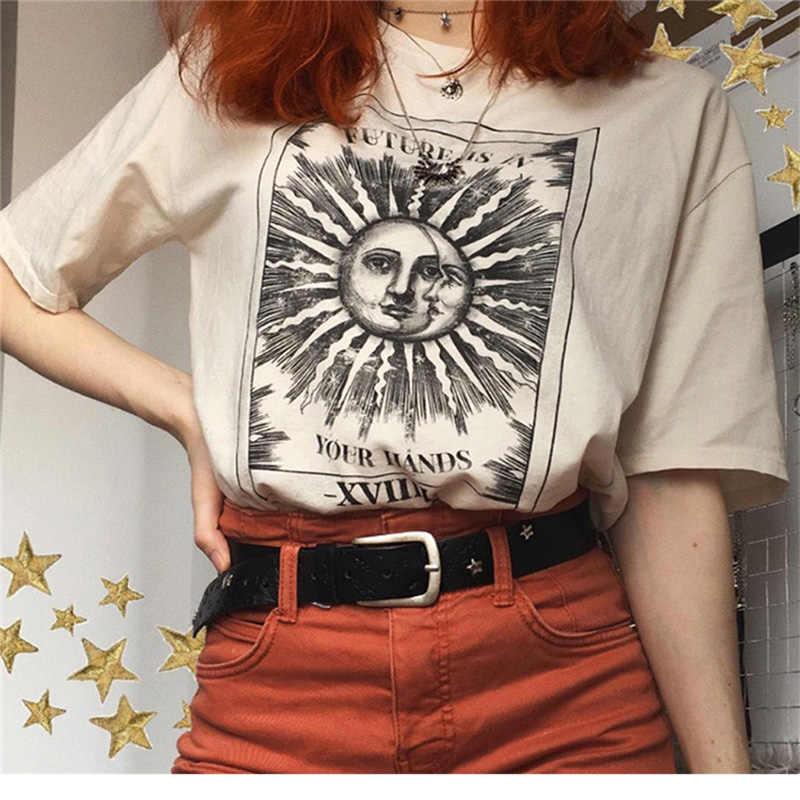 新しい原宿美的女性 tシャツ日月プリント半袖トップス & tシャツファッションカジュアル tシャツ女性の服の tシャツ