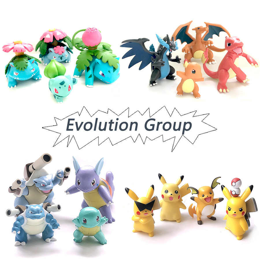 Evolusi Group Charizard Bulbasaur Squirtle Blastoise Anime Tindakan Mainan Angka Pokemonal Koleksi Model Mainan Dekorasi Mainan