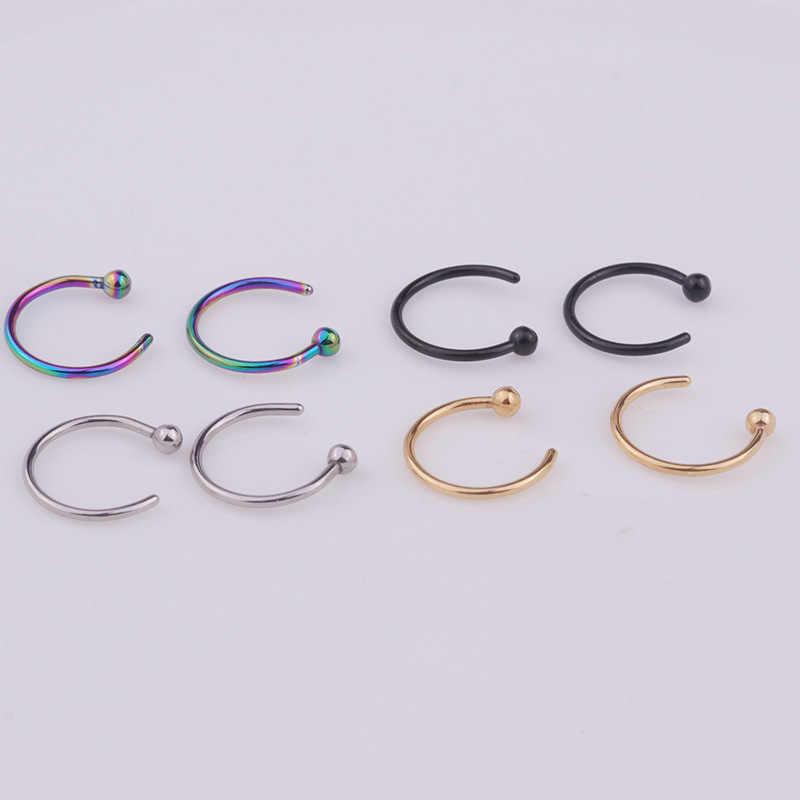 2020 מזויף פירסינג רפואי טיטניום האף טבעת עבור נשים פתוח חישוק טבעת סוג חישוק פירסינג Stud גוף תכשיטי אביזרי 1 מחשב