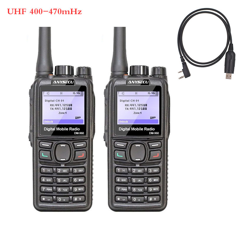 2PCS ANYSECU DMR Walkie Talkie DM-960 TDMA Ham Radio DM960 400-480Mhz Dual Slot Times Walkie Talkie + Programming Cable