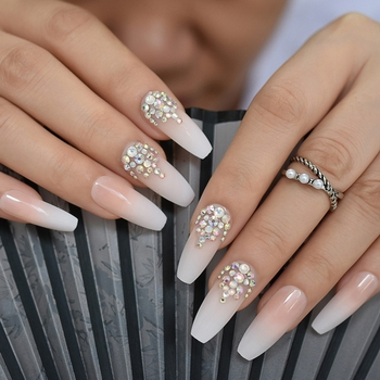 3D Bling Glitter Ombre Gradeint Natrual Nude French Ballerina Coffin False Fake Nails Extra Long Press on Party Finger Wear 24pc 1