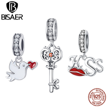 BISAER Top Quality 925 Sterling Silver Pigeon Love Kiss Heart locks Pendant Beads Fashion DIY Jewelry Gifts GAC092