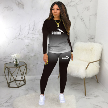 Two Piece Set Women Casual Sports Gradient Print Top and Pants Tracksuit Sweatsuit Outfits 2021 Autumn Winter Plus Size 5xl image