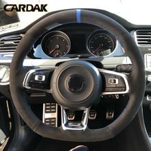 CARDAK ألياف الكربون الأسود الجلد المدبوغ عجلة توجيه سيارة غطاء ل Volkswagen جولف 7 GTI جولف R MK7 بولو شيروكو 2015 2016