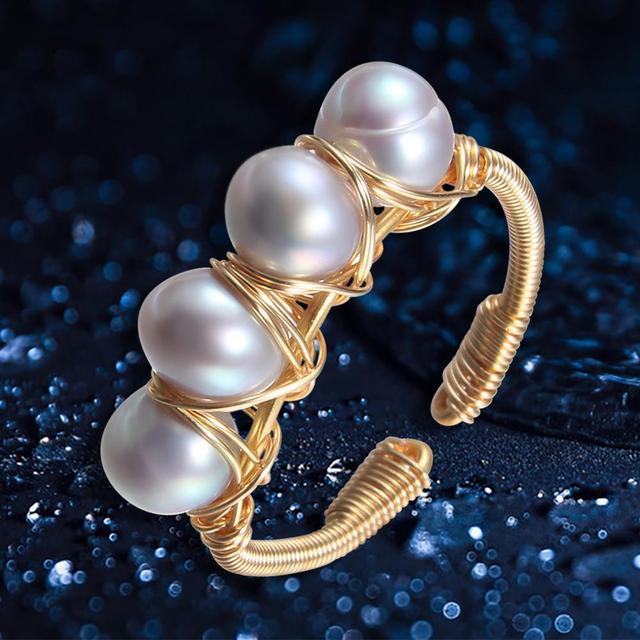 Anillos de perlas naturales barroco de Anillo de perlas de agua dulce para mujer, anillos de oro de perlas hechas a mano, Buen Regalo De niña, anillo de apertura de perlas de 6 7mm