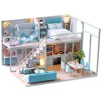 CUTEBEE DIY деревянный кукольный домик кукольные домики Миниатюрный Кукольный дом мебель набор Каса Музыка Led игрушки для детей подарок на день ...