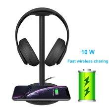 מהיר טעינה אלחוטי אוזניות Stand 5W/7.5W/10W מהיר טעינה מהירות אוזניות מחזיק עם LED עבור כל טלפון Qi