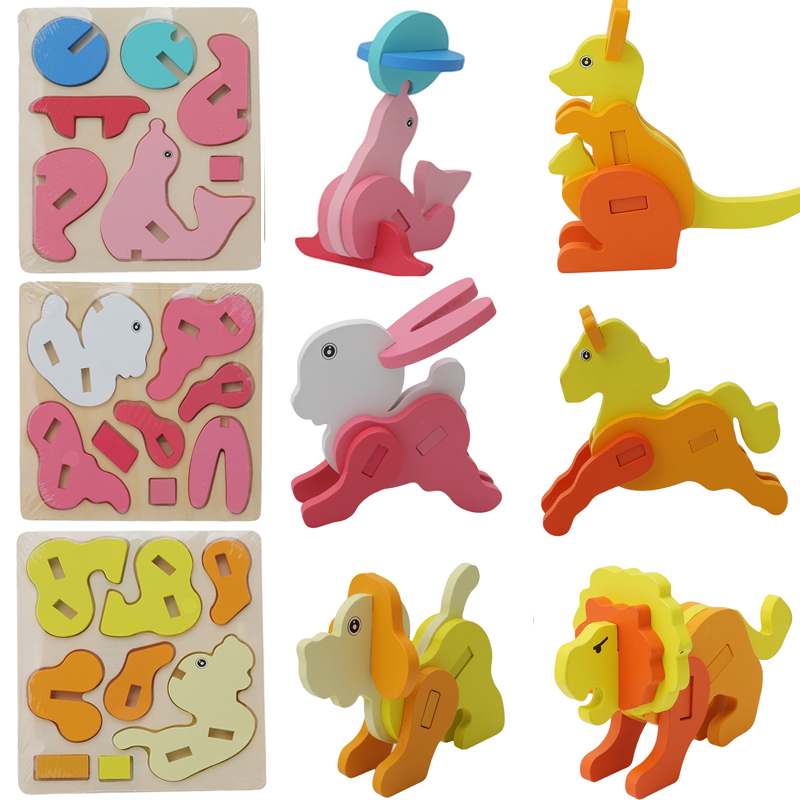 Infant Kids Handmade DIY Cartoon Zoo Animal  Model 3D Puzzles Baby Toys Wooden Puzzles Children Early Learning Educational Toys