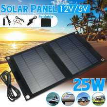 Folding Solar Panel 25W 18V USB Port Portable Solar Cells Mobile Power Bank Phone Charger Waterproof for iPhone iPad Samsung lson portable 4000mah solar power bank for iphone ipad golden black