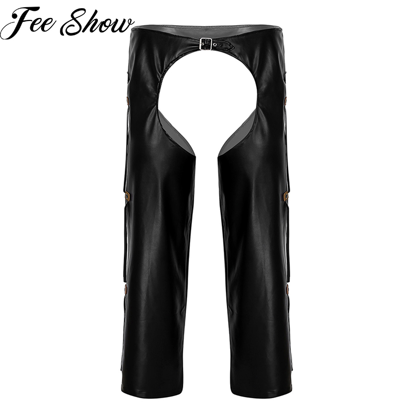Men Wetlook Leather Crotchless <font><b>Chaps</b></font> Wild West Cowboy <font><b>Sexy</b></font> Costumes Fringe Buckled Open Crotch Porno Loose Long Pants Clubwear image