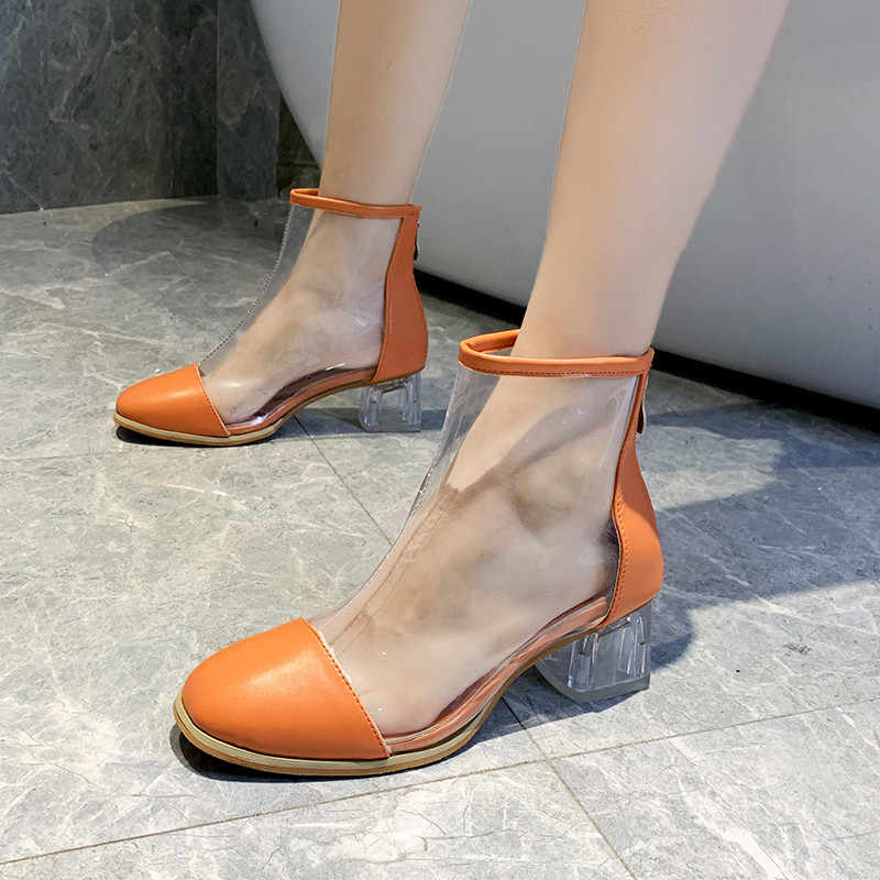women boots 2019 summer sexy boots Ankle Boots short boots thick heels  Transparent celebrity crystal zipper women's boots