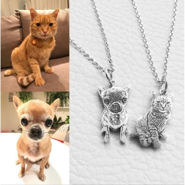 Pet Custom Keychain Necklace Personalized Jewelry 925 Sterling Silver Necklaces for Women Men Jewelry Memorial Gift