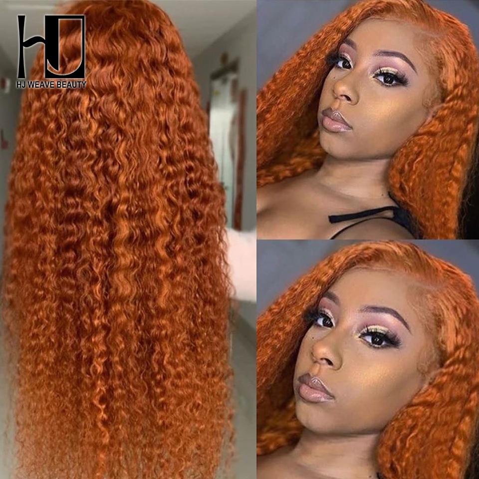 Perucas de cabelo humano cor-de-laranja brasileira perucas de cabelo humano profundamente encaracolado frente do laço perucas de cabelo humano para as mulheres 13x4 peruca frontal do laço pré arrancadas