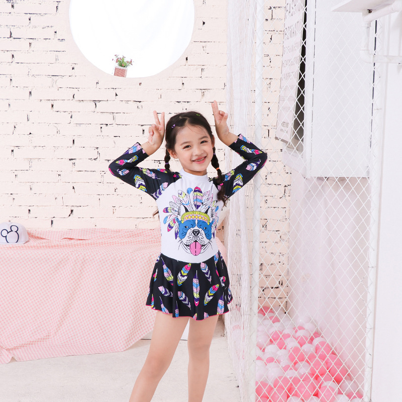 KID'S Swimwear Girls Dress-Big Boy South Korea Cute Princess Baby Girls Swimming Long Sleeve Swimwear