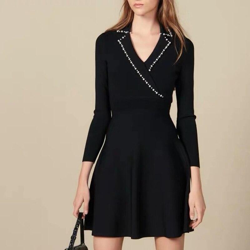 Runway Elegant Pearl Beading Sweater Dresses Women V-Neck Slim Fit Knitted Midi Dress A Line High Waist Office Lady Vestidos