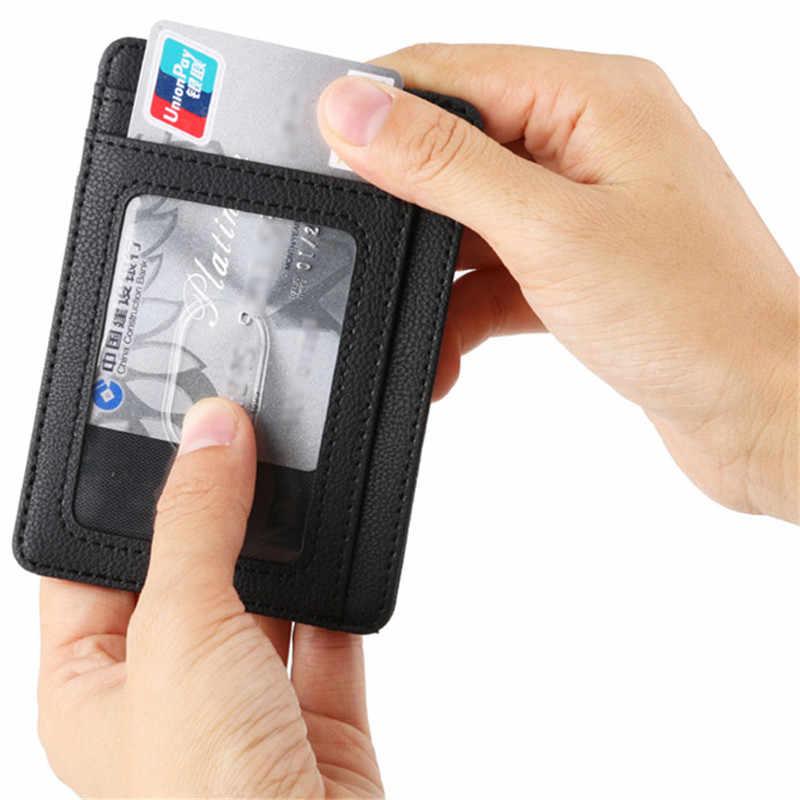 Anti RFID erkek cüzdan deri kartlık erkek ince ince cüzdan siyah küçük kısa çanta para çantası çanta cüzdan vallet