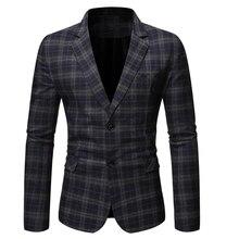 PUIMENTIUA 2019 New Fashion Mens Casual Blazers Plaid Business Stylish Wedding Party Outwear Coat Men Blazer Slim Fit Suit Tops