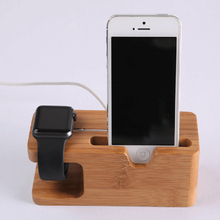 Bamboo Combo Stand Holder Cradle Charger Dock Station สำหรับ Apple Watch/iPhone