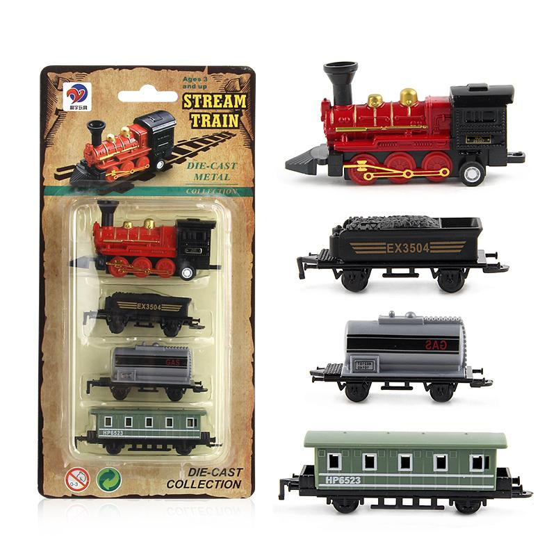 HobbyLane 4pcs Children Alloy Simulation Steam Train Creative Mini Car Models Toys Gifts For Kids