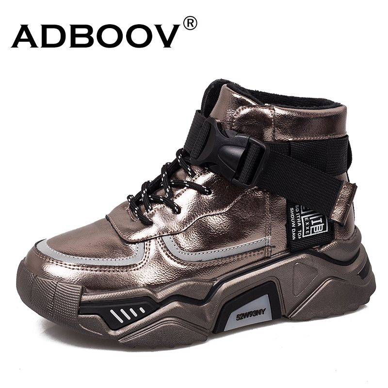 ADBOOV High Top Platform Sneakers Women Buckle Chunky Trainers Winter Shoes Fashionable Womens Sneakers Basket Femme