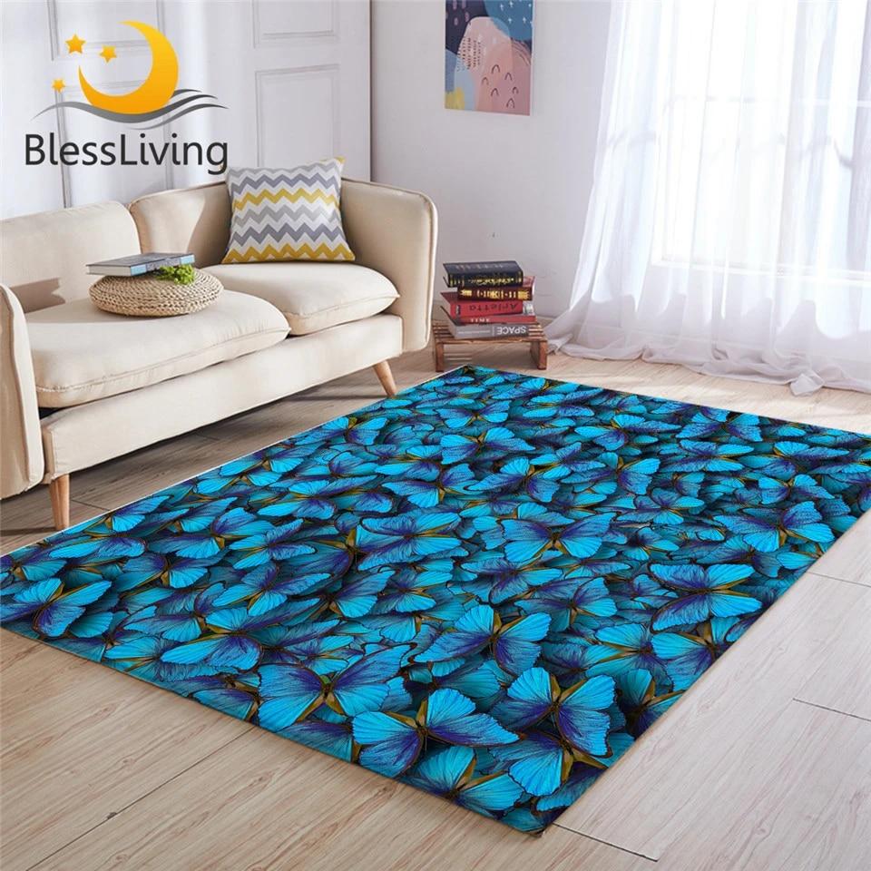 Blessliving Blue Butterflies Large Carpets For Living Room Butterfly Rug Floor Mat Watercolor Area Rug 122x183cm Tapis Salon Carpet Aliexpress