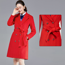 Business suit woolen coat formal coat hotel front desk coat thickened cotton stewardess dress ladies mid-length winter coat