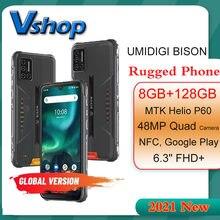 Yeni 2021 UMIDIGI BISON sağlam telefon 8GB + 128GB IP68/IP69K su geçirmez cep telefonu 6.3