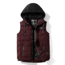 Мужские жилеты с капюшоном на открытом воздухе, мужской жилет с хлопковой подкладкой, повседневные пальто, утепленный жилет, зимняя куртка без рукавов для мужчин 2117