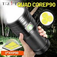 10400 mah quad core 3 * xhp90 ultra poderoso lanterna led 18650 bateria embutida usb 3 modos led flash luz à prova dwaterproof água tocha|Lanternas| |  -