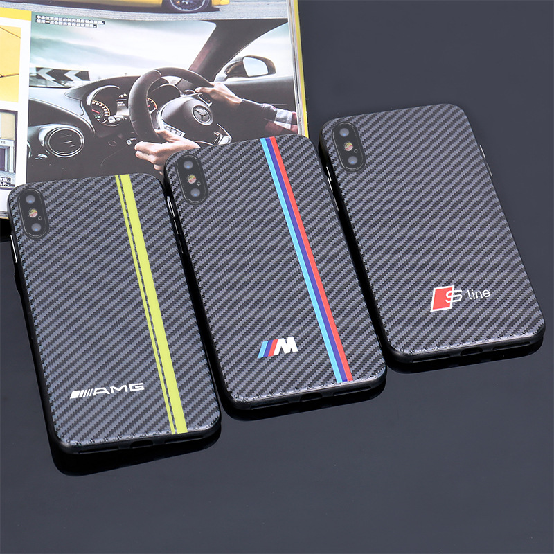 Applicable Car Logo <font><b>BMW</b></font> Benz Audi Carbon Fiber Pattern Relief <font><b>iPhone</b></font> X Phone <font><b>Case</b></font> IPhone6S/7/<font><b>8</b></font>/Plus image