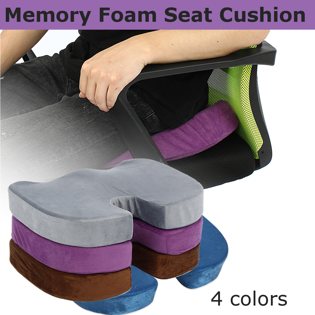 Seat Cushion Memory Foam Chair Anti Hemorrhoid Coccyx Orthopedic Office Home Car Travel Seat Mat Lumbar Pain Relief Massage|Cushion| |  - title=