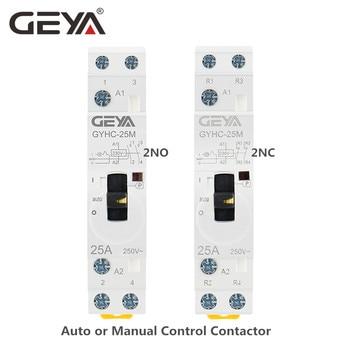 цена на GEYA Manual Control Household Contactor Din Rail Type Modular Contactor 2P 16A 20A 25A 2NO or 2NC 220V