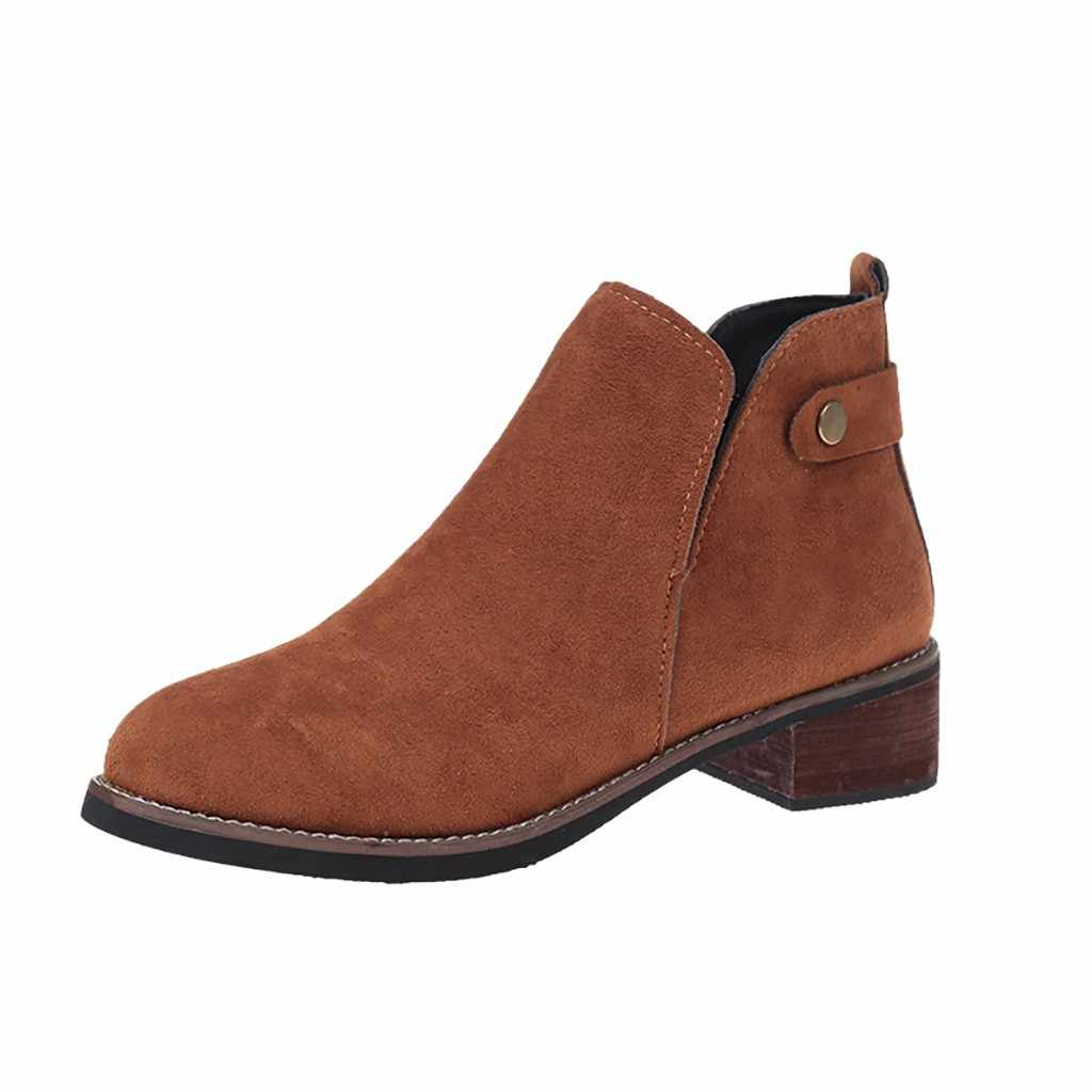 Kadın süet kahverengi yarım çizmeler kadınlar için moda sonbahar kış köpek topuk Med üzerinde kayma akın Punk sivri ayak kemer bölünmüş botları