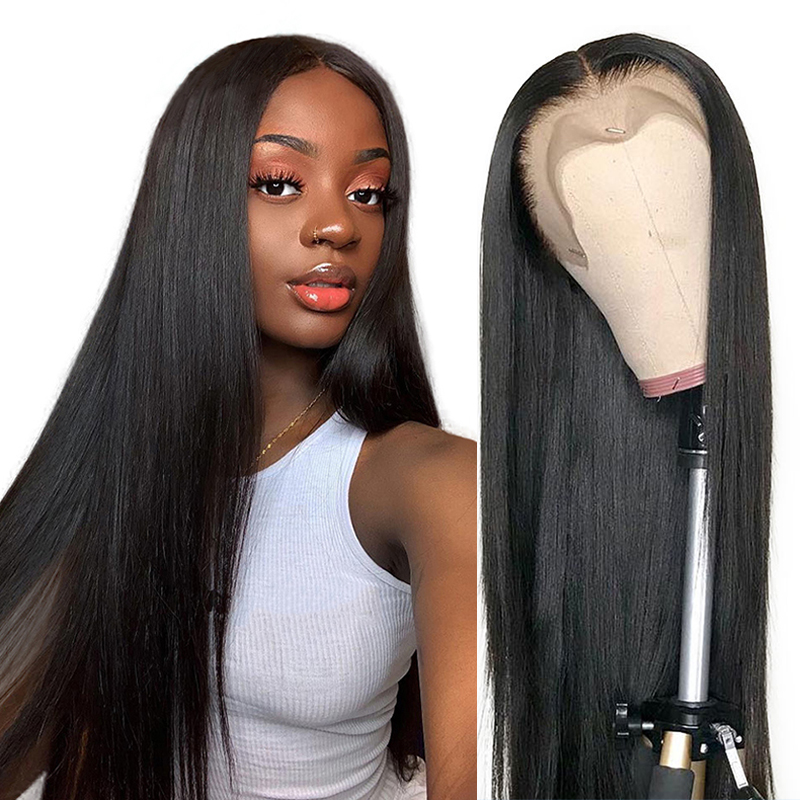 Gossamelle Long Straight Lace Front Wig Natural Black Synthetic Wigs For Women Middle Part Heat Resistant Fiber Hair