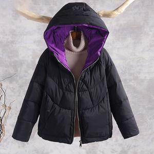 Image 4 - Sonbahar kış sıcak kalın mont kadın ceketler yeni moda kapüşonlu rahat pamuk Parka kadın kabanlar palto P130