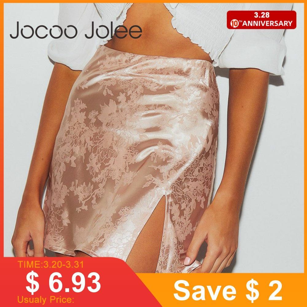 Jocoo Jolee Women Summer Elegant Jacquard Satin Short Skirt Sexy High Waist Split Mini Skirt Vintage Zipper Skirt High Street