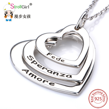 Stroll Girl 925 Sterling Silver  Chain Pendant Choker Necklace Jewelry Heart Love Customized Necklaces & Pendants for Women 2018 jewelrypalace luxury pear cut 7 4ct created emerald solid 925 sterling silver pendant necklace 45cm chain for women 2018 hot