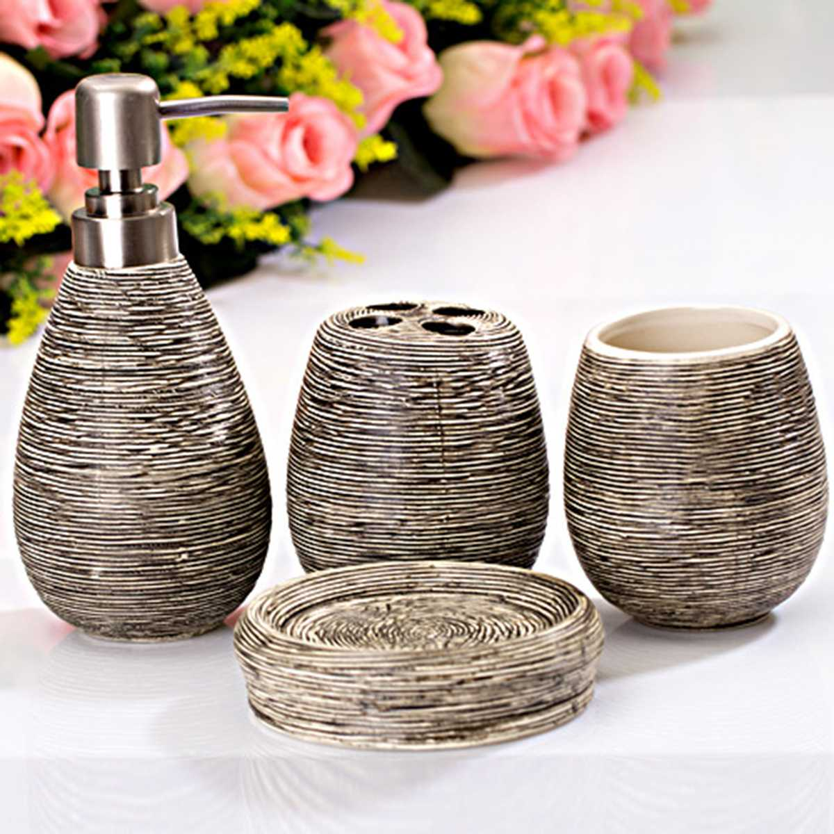 New 4Pcs/Set Ceramic Textural Bathroom Accessory Retro Lotion Dispenser Toothbrush Holder Cup Soap Dish Modern Toilet Home Decor image
