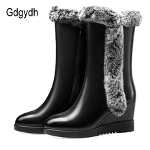 Gdgydh Real Fur Snow Boots Warm Furry Plush Women Winter Shoes Retro Wedge Heel Black Genuine Leather Boots Female High Quality