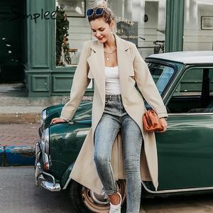 Image 3 - Simplee צמר תערובת חורף טוויד מעיל נשים ארוך שרוול אלגנטי אבנט חגורה נשי סתיו חורף streetwear מעיל