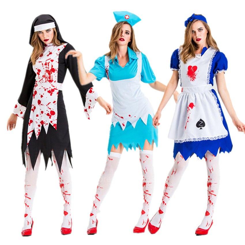 Ladies Bloody Nurse Zombie Halloween Horror Fancy Dress Costume Adult M//L