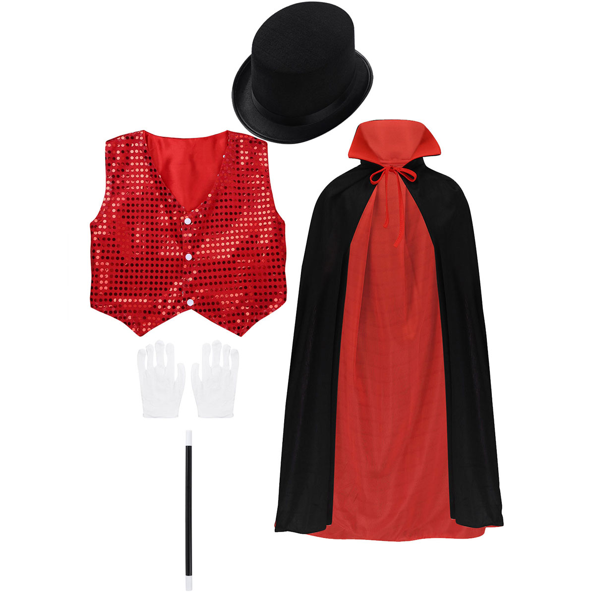 Kids Role Play Stage Performance Cloak with Waistcoat Hat Magic Wand Gloves Set Children Boys Halloween Magician Costume